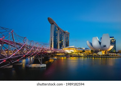 February 6, 2020: skyline of scenery of the marina bay with the famous landmark of singapore, sands, helix, and artscience museum. Marina Bay is a bay located in the Central Area of Singapore