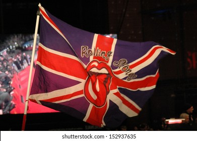 "FEBRUARY 7, 2008 - BERLIN: a Union Jack (British flag) with the symbol of the""Rolling Stones"" at the opening of the Berlinale film festival (with the film ""Shine a Light""), Berlin."