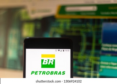 "February 7, 2019, Brazil. Mobile device shows logo of Brazil's ""Petrobras"" oil company. The headquarters of the company is in Rio de Janeiro."