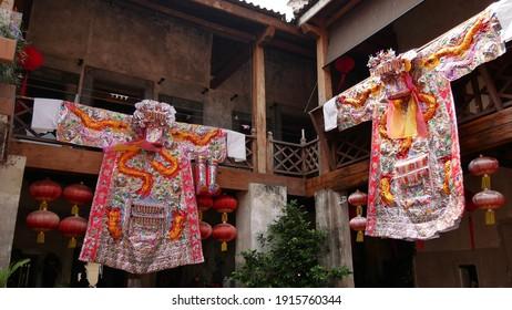 February  7 2021 - Bangkok, Thailand : Chinese traditional costumes display at historical museum ( Long 1919 ) Bangkok, Thailand