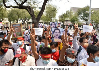 February 7, 2021: Myanmar protesters Living in Thailand Rally in front of the United Nations in Bangkok To combat the coup in Myanmar And want to release Aung San Suu Kyi soon.
