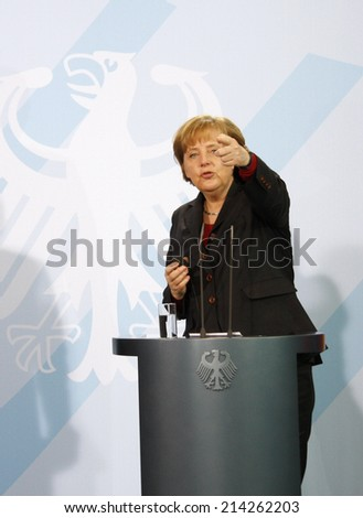FEBRUARY 8, 2008 - BERLIN: German Chancellor Angela Merkel during a press conference in the Chanclery in Berlin.