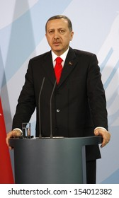 FEBRUARY 8, 2008 - BERLIN: Turkish Prime Minister Recep Tayyip Erdogan at a press conference after a meeting with the German Chancellor in the Chanclery in Berlin.