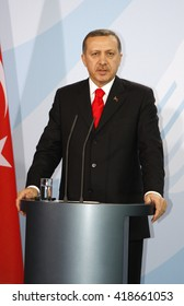 FEBRUARY 8, 2008 - BERLIN: Turkish then Prime Minister Recep Tayyip Erdogan at a press conference after a meeting with the German Chancellor, Chanclery.