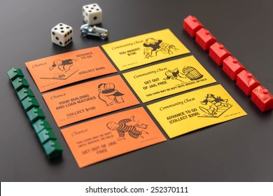 February 8, 2015 - Houston, TX, USA.  Monopoly pieces and Community Chest and Chance cards