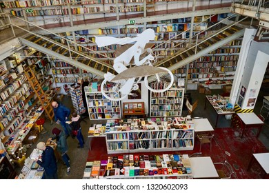February 8th, 2018- Lisbon, Portugal: The famous 'Livraria Ler Devagar' in the LX factory district