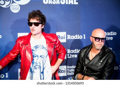 FEBRUARY 9, 2019 - SANREMO, ITALY: Italian rock band Negrita poses for photos in annual Festival of Sanremo, the main music event in Italy
