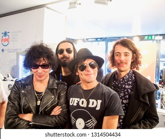 FEBRUARY 9, 2019 - SANREMO, ITALY: Italian rock band Zen Circus poses for photos in annual Festival of Sanremo, the main music event in Italy