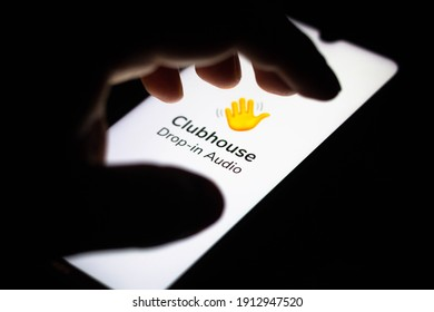 February 9, 2021, Brazil. In this photo illustration the Clubhouse logo seen displayed on a smartphone screen