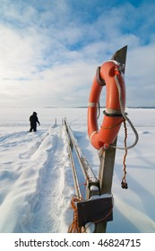 In February Baltic Sea is frozen due to long cold period. Platform is used for swimming during the summer time.