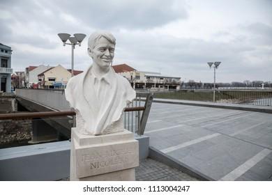 FEBRUARY, CROATIA - FEBRUARY 25, 2018: Statue of Jean Michel Nicolier in the war torn city of Vukovar, near the Nicolier Bridge. Jean Michel Nicolier was a French soldier in the war of Yugoslavia