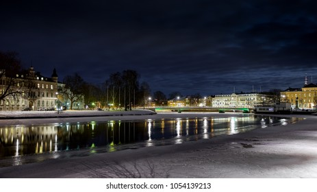 February evening in Karlstad, Sweden.