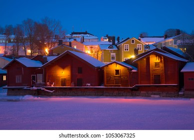 A February evening in the old Porvoo. Finland