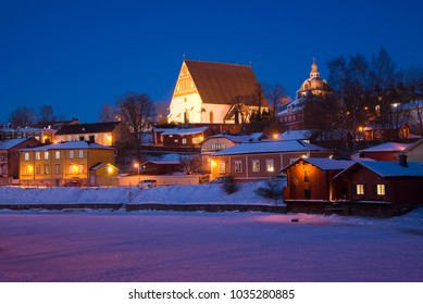 February evening in the old town. Porvoo, Finland