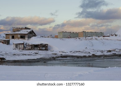 February evening in the Teriberka village. Murmansk region, Russia