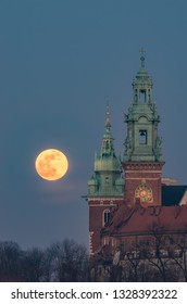 February Full Moon (Snow Moon, Supermoon) over Wawel castle and cathedral, Krakow, Poland