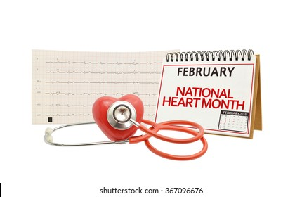 February Heart Month Calendar Stethoscope Electrocardiograph Isolated on white background