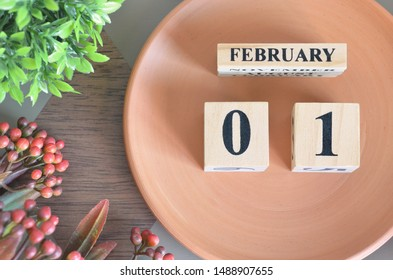 February month design with flower and earthenware, 1.