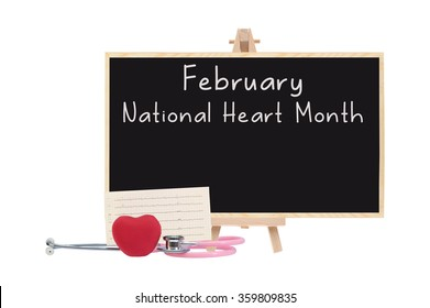 February National Health Month Blackboard stethoscope Red Heart Electrocardiograph isolated on white background