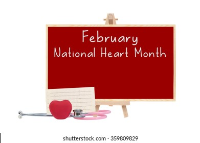 February National Health Month Red board stethoscope Red Heart Electrocardiograph isolated on white background