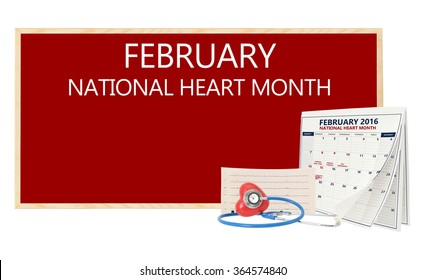 February National Heart Month Blackboard Calendar pages turning Stethoscope on red heart with electrocardiograph isolated on white background