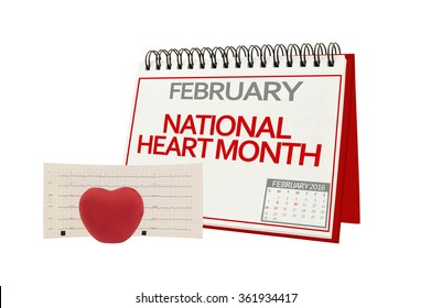 February National Heart Month Electrocardiograph Red Heart isolated on white background