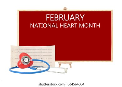 February National Heart Month Red board Stethoscope on Red Heart with Electrocardiograph isolated on white background
