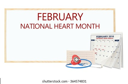 February National Heart Month White board Calendar pages turning Stethoscope on red heart with electrocardiograph isolated on white background