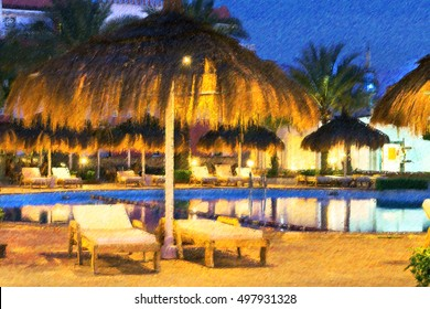 February night on beach, straw umbrellas and sunbeds by pool at hotel beach resort, Sharm El Sheikh, Egypt. Photo stylized illustration