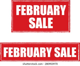 February sale grunge rubber stamp design red square.