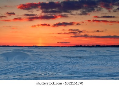 February sunset over the frozen north end of Lake Erie, as seen from Windmill Point near Ridgeway, Ontario.