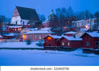 February twilight in Old Porvoo. Finland