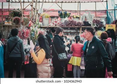February12, 2018, Hong Kong: People choosing of flowers in the Lunar New Year Fair