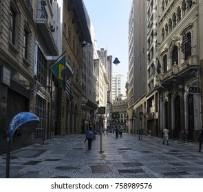 Februay 2017, Sao Paolo, São Paolo, Brazil, City tour in Sao Paolo's downtown, people walking through boardwalk and shopping.