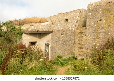 Fecamp, France - August 20, 2018: Germans Blockhouse of the Second World War on the Cap Fagnet near Fecamp in Normady, France