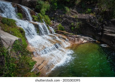 Fecha de Barjas waterfall (also known as Tahiti waterfall) in the mountains of Peneda-Geres National Park, Portugal