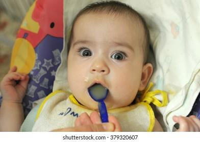 fed baby fruit puree