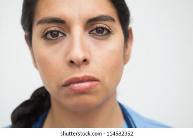 Fed up looking nurse in hospital
