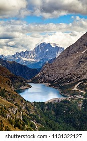 Fedaia lake in Dolomites