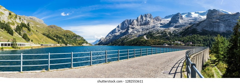 Fedaia Pass (Passo Fedaia) , at the foot of the Marmolada Massif and Lake Fedaia, Dolomites, Fassa Valley, Trentino Alto Adige, Italy , Europe