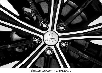 Brasília, Federal District - Brazil. April, 24, 2019. Photograph of a beautiful wheel demonstrating the Mitsubishi brand logo. Car wheel Mitsubishi Eclipse Cross 2019.