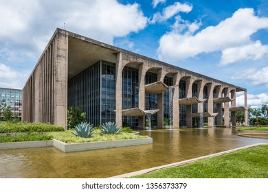 Brasília, Federal District, Brazil, December 2018 - view of  the Palácio da Justiça (Palace of Justice), one of the many buildings designed by the famous architect Oscar  Niemeyer