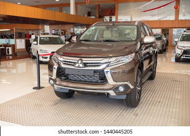 Brasília, Federal District - Brazil. July, 02, 2019. Photo of a Pajero Sport of the year 2019. Concessionaire Nara Mitsubishi.