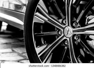 Brasília, Federal District - Brazil. Mar. 25, 2019. Photograph of the original Mitsubishi Eclipse Cross car wheel, 2019. Black and White.