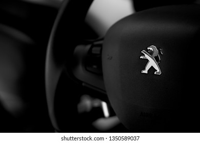 Brasília, Federal District - Brazil. Mar, 25, 2019. Interior of a peugeot 208 1.6 Aut. Griffe 2014 vehicle.