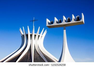 Brasília, Federal District, Brazil. May/2015. Architecture. Brasilia's Cathedral. Blue sky.