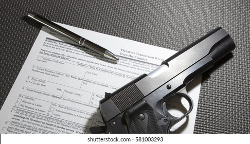 Federal form required to purchase a firearm with a handgun and pen