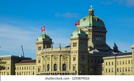 Federal Palace of Switzerland, building of swiss parliament in swiss capital city of Bern (Berne in French), Switzerland, Europe