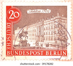 "FEDERAL REPUBLIC OF GERMANY - CIRCA 1951: A stamp printed in the Federal Republic of Germany (FRG) shows image of Schloss Nordkirchen, the ""Versailles of Westphalia"", series, circa 1951"