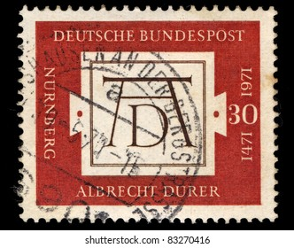 FEDERAL REPUBLIC OF GERMANY - CIRCA 1971: A stamp printed in the Federal Republic of Germany shows 500 day of birth of Albrecht Durer (1471–1528), circa 1971